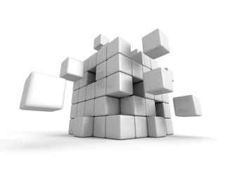 white 3d blocks cube structure organization