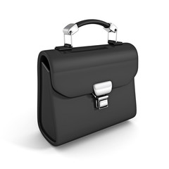 black leather briefcase on white background