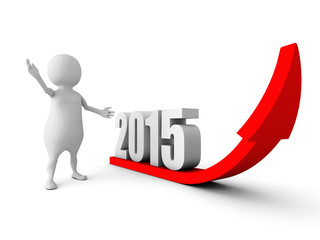 3d man with growing up 2015 year success arrow