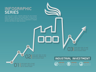 Industrial Rising Line Diagram Template Vector