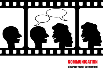 communication background with people silhouettes