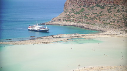 View of the beach of Balos in Crete, Greece.