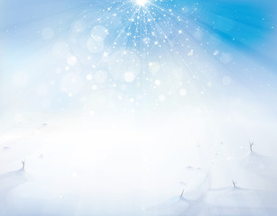 Vector blue sky and snow background.