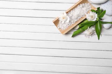 Spa setting on wooden background