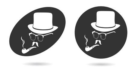 Smoking gentleman. Vintage design elements set like icon