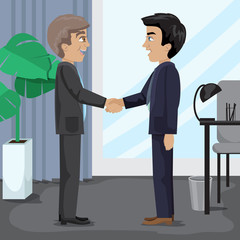 People Handshaking At The Office - Vector Illustration