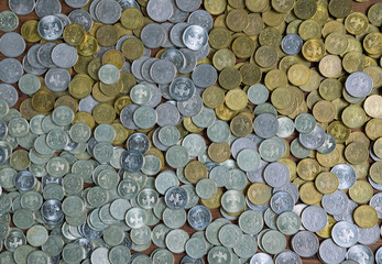 full frame background with mixed coins. Russian rubles