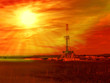 Shale gas drilling with sunrise in Lublin, Poland.