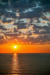 Colored sunrise over the sea.