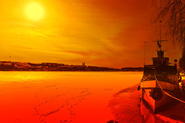 Winter scenery - sunset in Stockholm, Sweden.