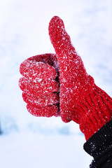 Woman's hand in red glove on winter natural background