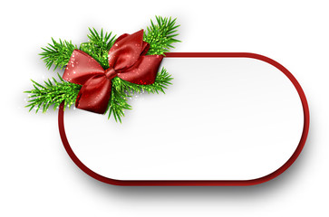 White paper gift card with spruce twigs.