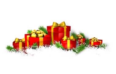 Background with heap of gift boxes.