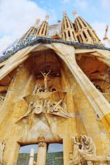 The Basilica of La Sagrada Familia against blue sky.Most amazin