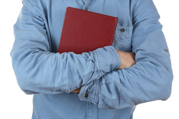 Man holding book isolated on white