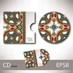 CD cover design template with ukrainian ethnic style ornament fo