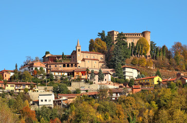 Small town and medieval castle in Italy.
