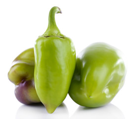 Green peppers isolated on white