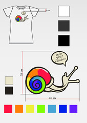 t-shirt design with snail