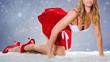 canvas print picture - weihnachtsfrau auf dem Fell im Schnee