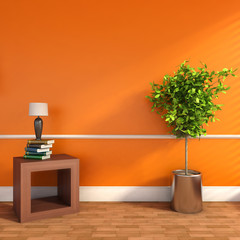 orange interior with plant and lamp. 3D illustration