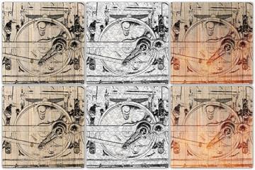 collage train wheel