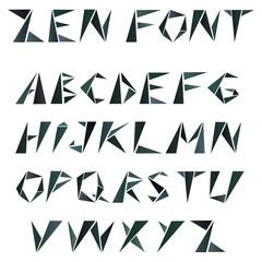 mosaic triangular alphabet in zen style