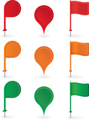 Color pins and flags collection . Vector