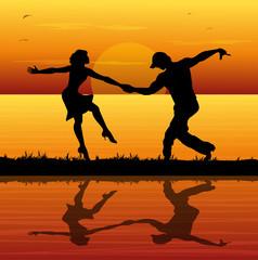 coppia di ballerini al tramonto