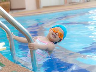 cute little swimmers girl