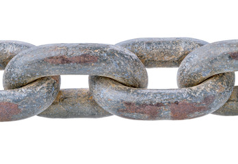 Old rusty chain isolated on white