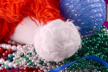 santa hat, blue balls, christmas card, close up,