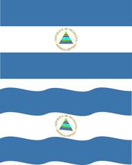 Flat and waving Nicaragua Flag. Vector