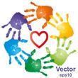 Vector conceptual hand prints and heart