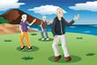 Senior people exercising tai-chi outdoor