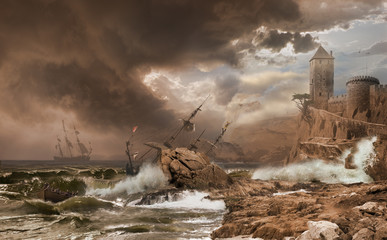 Storm with a Shipwreck  photomontage after Vernet painting