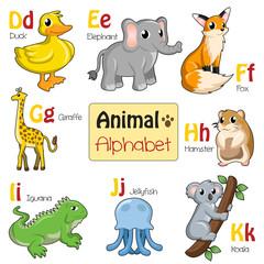 Alphabet animals from D to K