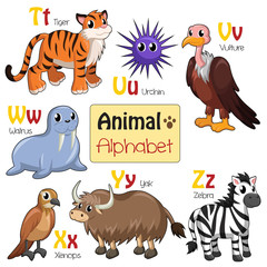 Alphabet animals from T to Z