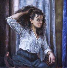 dipinto di una giovane donna con la mano tra i capelli