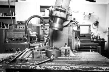 View of the drilling metal working machine