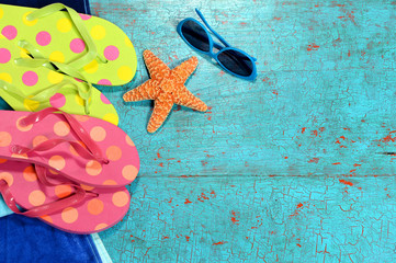 Summer Background with Flip-flops, Sunglasses and Starfish