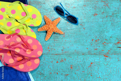 canvas print picture Summer Background with Flip-flops, Sunglasses and Starfish