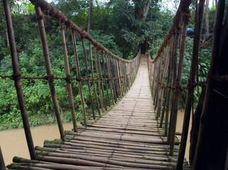Hinged bridge over the river, Dalat.