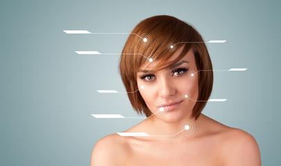 Young sexy girl with facial treatment modern arrows