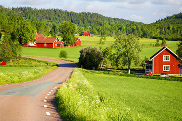 old rural farm houses, fields, meadows and forest