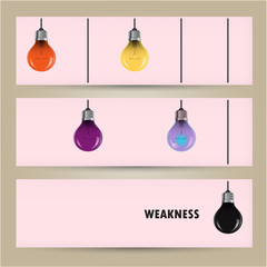 Creative light bulb Idea concept banner background. Difference a