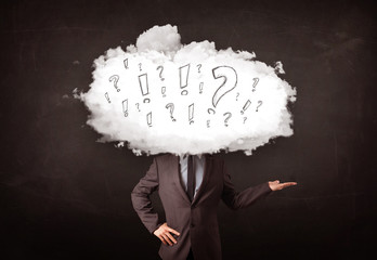 Business man cloud head with question and exclamation marks