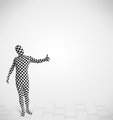 Funny guy in morphsuit body suit looking at copy space