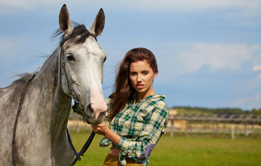 portrait beautiful woman long hair next horse
