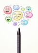 Smiley faces coming out of pen
